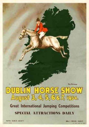 Dublin Horse Show 1954, Vintage Irish Travel Poster Print , Royal Dublin Society, Ireland
